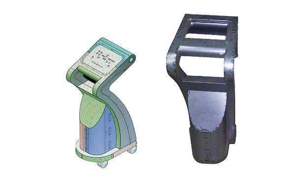 画像:3 次元ソリッド板金CAD SheetWorksで作成した操作端末の筐体の3次元モデル(左)/SheetWorksで作成した3 次元モデルをもとに、同社で製作した操作端末の筐体(右)