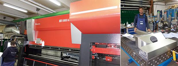 左:2015年に導入したベンディングマシンHD-1003NT+ATC/右:高いスキルを備える溶接スタッフ。製品はステンレス製の試作品