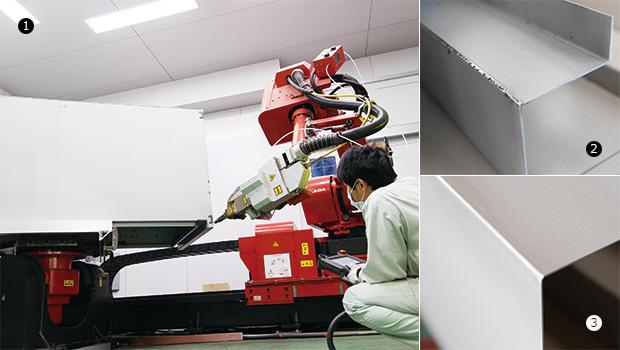 画像:ファイバーレーザ溶接で薄板・長尺・R形状に対応