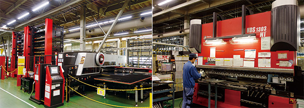 左:パンチ・レーザ複合マシンEML-3510NT+AS-2512NTK+UL-2512NTKの稼働率は高い/右:曲げ工程も半日単位で工程を進行する