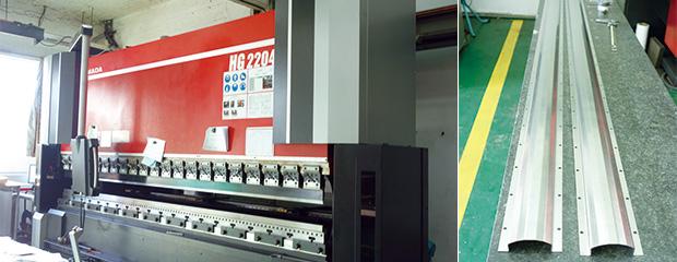 左:新たに導入されたHG-2204/右:電子部品製造装置に使われるチタン製の部材は通り精度がきびしく、この加工に対応するためにベンディングマシンHG-2204を導入した