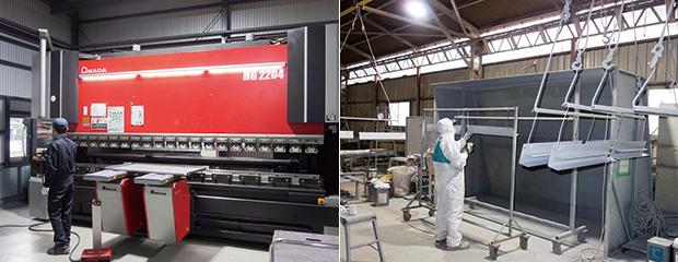 左:ベンディングマシンHG-2204は大型製品の加工にも対応するため追従装置が備えている/右:粉体塗装工程