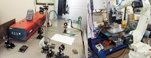 左:ナノ秒パルスレーザ装置を活用した実験装置/右:ファイバーレーザによるリモート溶接の実験装置