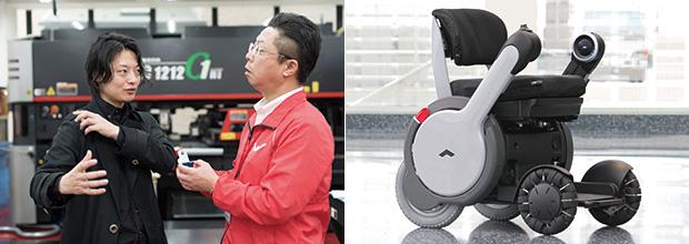 同社によるスタートアップ支援の事例。左:分身ロボット「OriHime」を開発した㈱オリィ研究所の代表取締役CEO・吉藤健太朗氏(左)と浜野社長(右)(撮影:香川賢志)/右:WHILL㈱のパーソナルモビリティ(次世代型電動車椅子)「WHILL」