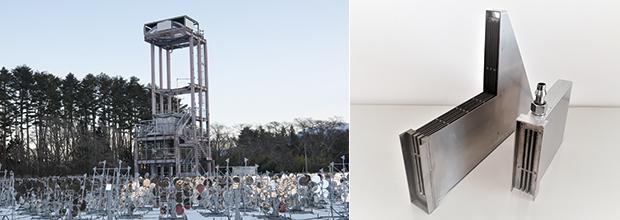 左:太陽熱発電の太陽追尾型ビームダウン方式のヘリオスタット(反射鏡)/右:水素ステーション向け水素変換機の部品