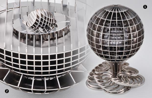 画像:レーザ加工時の残留応力も活用し、嵌め合い4層構造の球体を製作